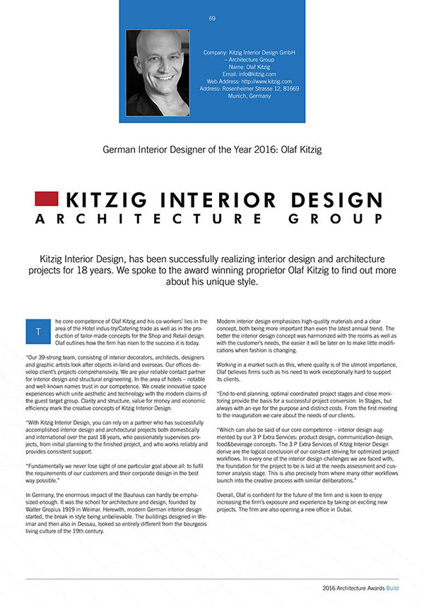 Build Titel Or Architecture Awards 2016 KITZIG Interior Design